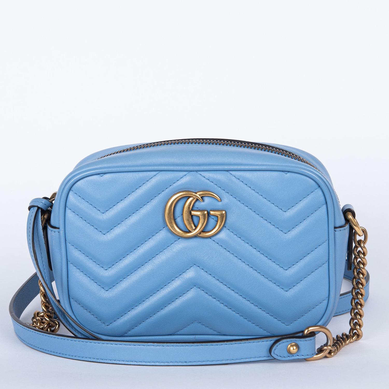 Gucci Gg Marmont Mini Camera Bag Blue Leather